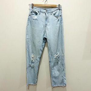Uniqlo Light Wash Distressed High Rise Jeans 24
